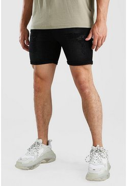 Skinny Fit Jeansshorts in Destroyed-Optik, Verwaschenes schwarz
