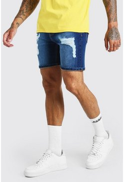 Mid blue Skinny Fit Jean Shorts With Distressing