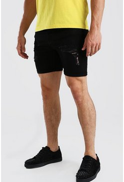 Skinny Fit Jeansshorts in Destroyed-Optik, Schwarz
