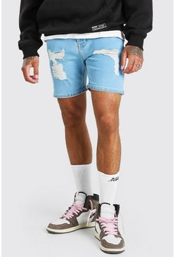 Light blue Skinny Fit Denim Shorts With Distressing