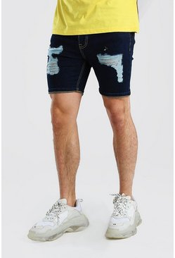Dark blue Skinny Fit Denim Shorts With Distressing