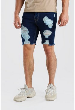 Washed blue Skinny Fit Long Distressed Denim Shorts