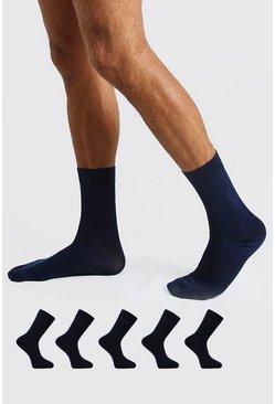 Navy 5 Pack Suit Socks