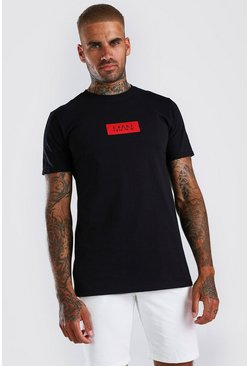 Black Original MAN Red Box Print T-Shirt