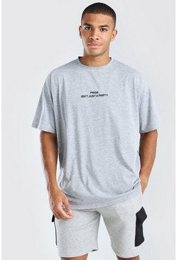 Grey marl Pride isn't Just a Party Oversized T-Shirt