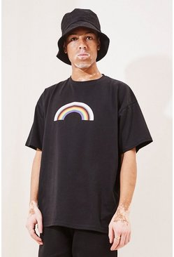 Black Pride Rainbow Print Oversized T-Shirt