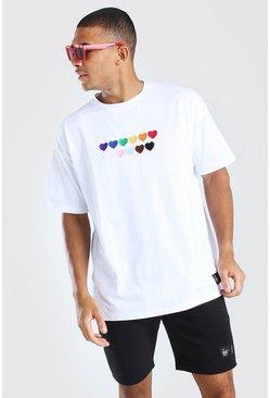 White Pride Rainbow Heart Oversized T-Shirt