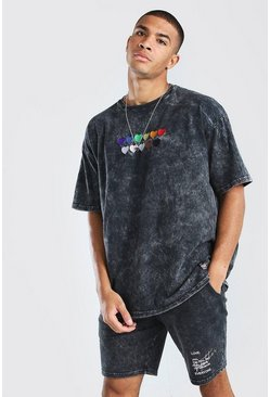 Black Pride Rainbow Heart Oversized T-Shirt