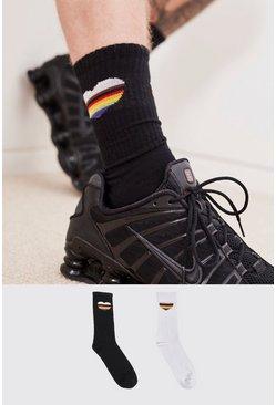 Multi Pride 2pk Rainbow Heart Sport Sock