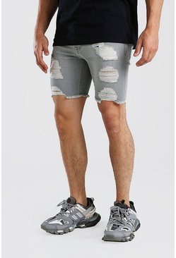 Charcoal Super Skinny Denim Shorts With All Over Rips
