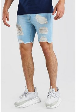 Ice blue Super Skinny All Over Rip Jean Shorts