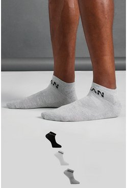 MAN Active Knöchelsocken, 3er-Pack, Grau