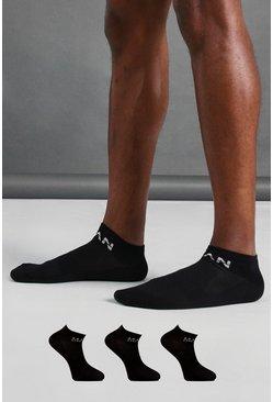 Black MAN Active 3 Pack Ankle Socks