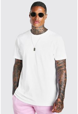 White Short Sleeve Longline T-Shirt With Curve Hem