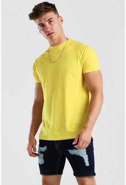 Gold Longline Raglan Crew Neck T-Shirt