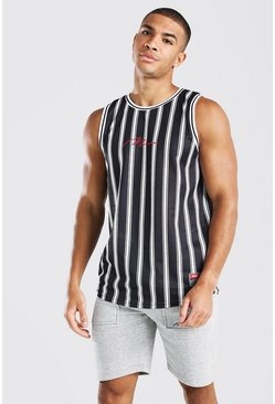 Black MAN Striped Airtex Basketball Vest