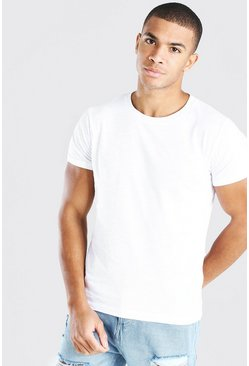 White Basic Crew Neck Slub T-Shirt