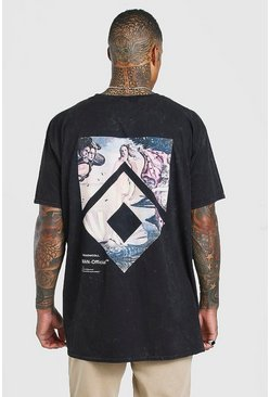 Charcoal Oversized Acid Wash Statue Print T-Shirt