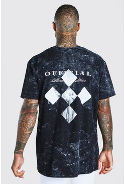 Charcoal Oversized Acid Wash Statue Print T-Shirt