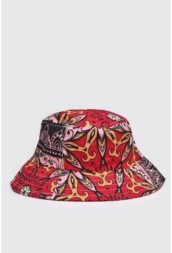 Pink Tile Print Bucket Hat