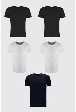 Multi 5 Pack Crew Neck T-Shirt