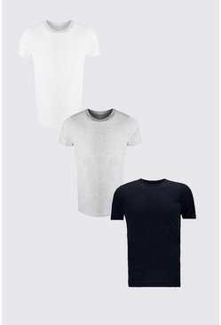 Lot de 3 t-shirts col ras du cou, Multi