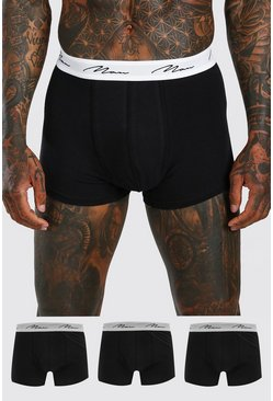 Black MAN Script 3PK Boxer With Contrast Waistband