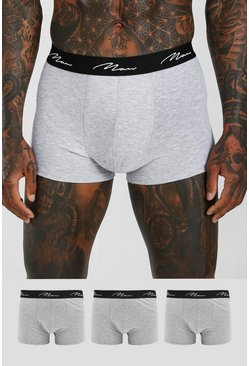 Grey marl MAN Script 3PK Boxer With Contrast Waistband