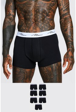 Black MAN Script 7PK Boxer With Contrast Waistband