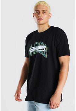 Black Oversixed Varisty Front & Back Print T-Shirt