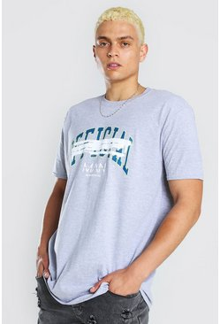 Grey marl MAN Official Varsity Print T-Shirt
