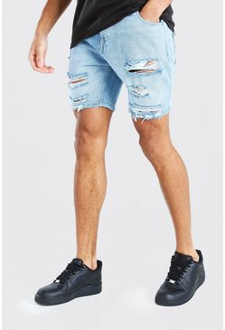Slim Fit Denim Shorts With All Over Rips, Light blue