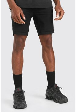 Black Skinny Fit Denim Short