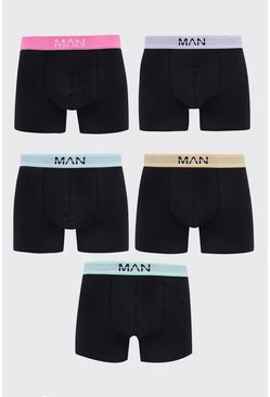 Black MAN Dash 5PK Boxer With Contrast Waistband