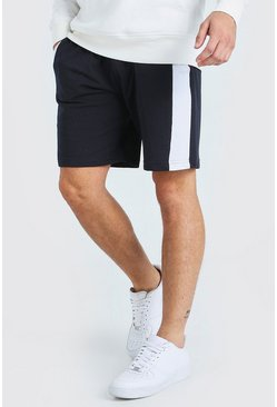 Navy Mid Length Jersey Short With Colour Block Side Panel