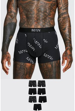 Black 7 Pack MAN Dash All Over Print Multi Pack Boxers