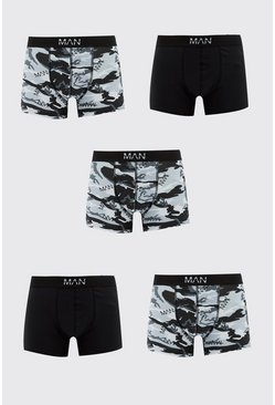 5 Pack Camo Print Multi Pack Boxers