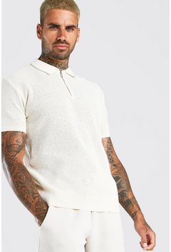 Cream Short Sleeve Knitted Half Zip Polo with Tipping