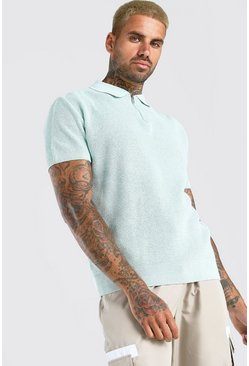 Mint Short Sleeve Knitted Half Zip Polo with Tipping