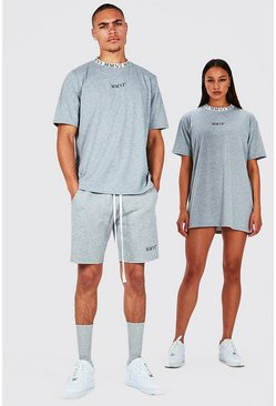 Grey His T-Shirt And Short Set With Rib Neckline