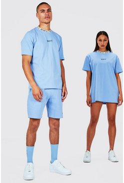 Blue His T-Shirt And Short Set With Rib Neckline