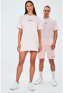 Pink Hers Oversized T-Shirt Dress With Rib Neckline