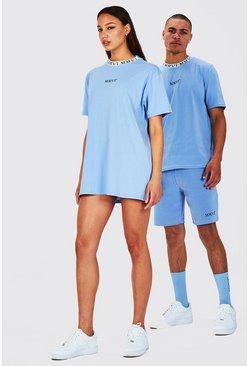 Blue Hers Oversized T-Shirt Dress With Rib Neckline