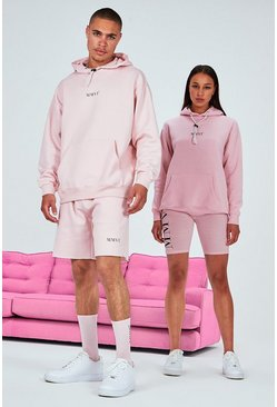 Pink His Oversized Hooded Short Tracksuit