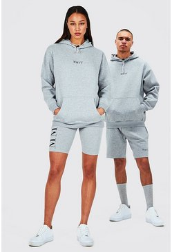Grey Hers Oversized Hoodie And Cycling Short