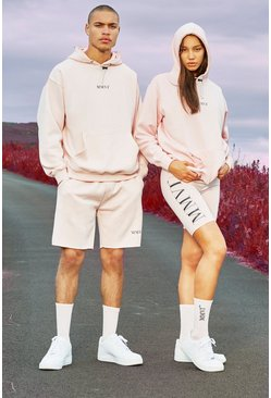 Pink Hers Oversized Hoodie And Cycling Short