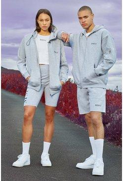 Grey Hers Oversized Zip Hoodie Crop Top & Cycling Short