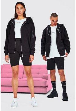 Black Hers Oversized Zip Hoodie Crop Top & Cycling Short