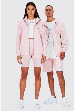Pink Hers Oversized Zip Hoodie Crop Top & Cycling Short