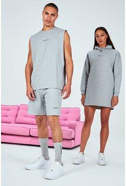 Grey His Printed Oversized Vest & Short Set